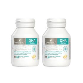2瓶装 |【增强记忆 帮助脑发育】澳洲 佰澳朗德 Bio Island 婴幼儿海藻油DHA胶囊  60粒