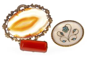 【菲集】三个维多利亚时期胸针 玛瑙绿松石玉髓 收藏品艺术品