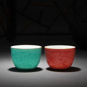 宝瓷林 扒花云鹤纹大罗汉杯对杯 (红地、绿地)