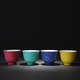 宝瓷林 扒花花卉花神杯对杯(四色可选)