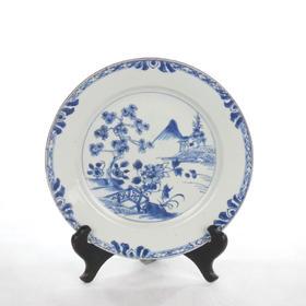 【菲集】18世纪中国松菊图案青花瓷盘 艺术品收藏品 跨境直邮