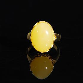 天然波罗地海琥珀蜜蜡戒指 s925银 优雅大方