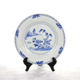 【菲集】18世纪中国青花瓷盘 杨柳垂岸 艺术品收藏品 跨境直邮