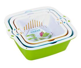 厨房双层滤水洗菜篮水果篮2个 中号24.9×23×8.5cm+小号21×19.5×7.1cm