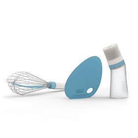 英国JosephJoseph 烘焙工具实用不锈钢三件套硅胶刷打蛋器面刮片