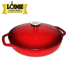 美国进口Lodge 珐琅锅铸铁锅炖锅带盖2.8L汤煲炖肉煲无涂层不易粘