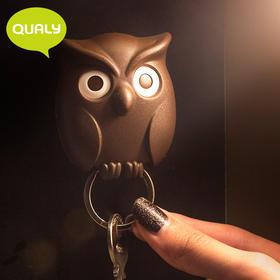 泰国原产Qualy门口玄关钥匙挂钩壁挂猫头鹰挂钩创意钥匙圈挂件