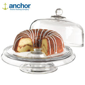 ANCHOR HOCKING美国进口多功能钢化玻璃四合一蛋糕托盘水果沙拉盘