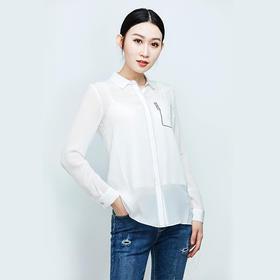 明线装饰假口袋真丝衬衫