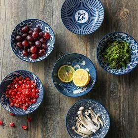 日式和风厨房餐具 青花纹陶瓷5.25寸浅口螺纹餐碗米饭碗