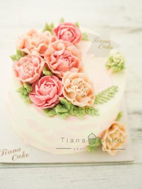 裱花蛋糕 牡丹 芍药