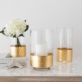 轻奢装饰摆件 维可金箔玻璃花瓶花插烛台