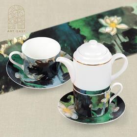 艺术礼品谢稚柳《落墨荷花》骨瓷咖啡杯碟茶具5件礼盒套装及仿真复制画