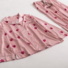 草莓睡衣套装春夏季长袖宽松清新甜美休闲家居服套装 粉色/白色