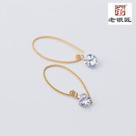 S925银耳环韩版甜美单钻金色短款耳坠纯银耳饰品