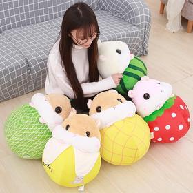 新款可爱仓鼠变身水果公仔办公室抱枕空调被二合一