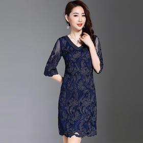 2018新款高端品质盘花重工显瘦优雅连衣裙ANE6044