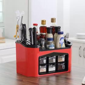 拯救脏乱差,厨房秒变大!免钉孔多功能壁挂厨房置物架刀具厨具用品收纳盒调味调料