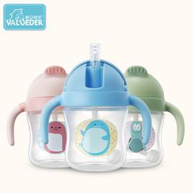 Valueder儿童水杯 宝宝学饮杯 吸管杯 滑盖防漏水杯 幼儿园水杯