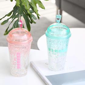 简约时尚大容量双层杯夏季冷饮吸管杯   文具