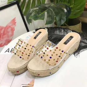 拖鞋女鞋透明铆钉新款潮流休闲鞋889-3货号