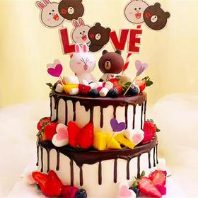 布朗熊&可妮兔·黑色淋面双层蛋糕