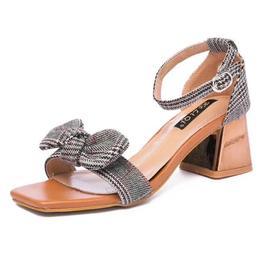 凉鞋女鞋格子布蝴蝶结甜美粗跟新款潮流女鞋288-10货号