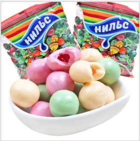 【进口零食】俄罗斯进口糖果KDV尼尔斯水果夹心软糖零食品樱桃橙子青苹果500g
