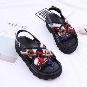 童鞋夏季新款女童流苏带扣凉鞋个性真皮宝宝软底中大童沙滩鞋拖鞋18202