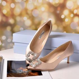 【品质之选】法国Elizabeth Stuart 尖头真丝绸缎 白金雪花扣 5.5cm细跟单鞋 ESHZ180031 三色 经典款