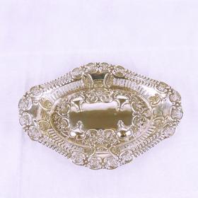 【菲集】艺术品 1904年英国伯明翰制 精致雕花纯银盘子 轻古董收藏品 跨境直邮