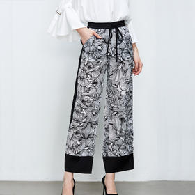 黑白印花真丝休闲裤