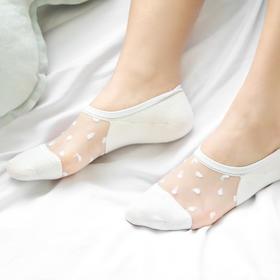 玻璃丝波点袜夏季透气船袜 文具