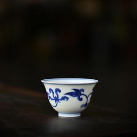 长物居 成化青花栀子纹铃铛杯 景德镇手绘仿古陶瓷茶杯品茗杯茶具