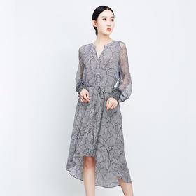 橡筋袖口黑灰连衣裙-N