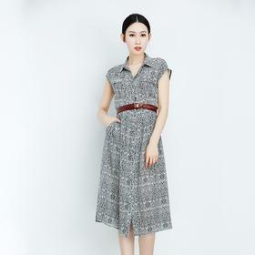米白底黑纹真丝短袖连衣裙-N