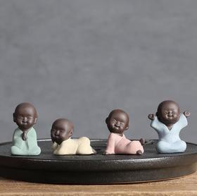 【家居摆件】茶宠紫砂砂迷你小和尚陶瓷工艺品花盆装饰沙弥小摆件