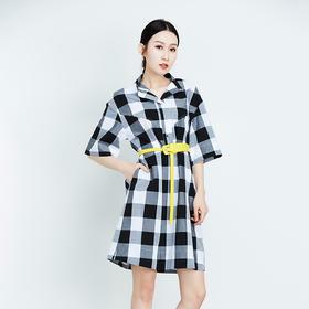 黑白大格棉质连衣裙-N