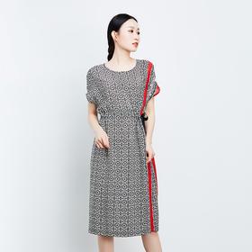 侧边红条纹系带真丝连衣裙