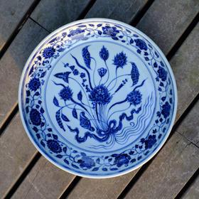 长物居 仿宣德手绘青花一把莲瓜果瓷器盘景德镇手工仿古陶瓷果盘