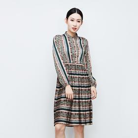 百褶裙摆绿花纹连衣裙-N
