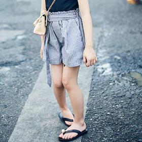 棉麻条纹裤