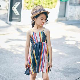 彩条吊带裙