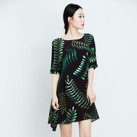 绿色树叶不规则下摆真丝连衣裙-N