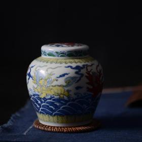 长物居 仿成化 手绘斗彩瓷器天字罐 景德镇手工陶瓷茶叶罐茶具