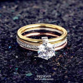 925纯银时尚美锆石三环网红明星同款食指戒指女日韩潮人学生指环