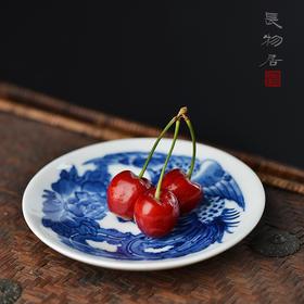 新品 手绘青花瓷器小碟杯托茶托 景德镇手工陶瓷杯垫茶具