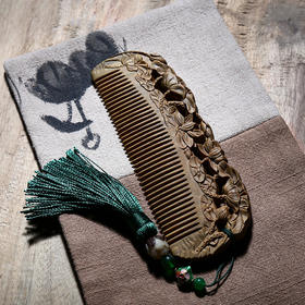 周广胜正宗绿檀木梳子长发按摩梳子防静电木梳定制送女友礼物