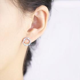 密密家」蓝色大海的传说几何不规则圆环锆石S925纯银耳钉耳环女韩