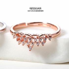 唯美S925纯银气质简约韩版锆石公主皇冠开口戒指女活口细指环学生